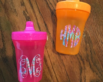 Sippy Cups Monogrammed in Lilly P