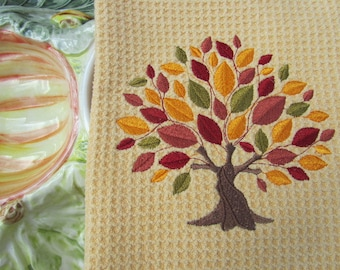 Autumn Elegance Tree (Butter) - Microfiber Waffle Weave Kitchen Hand Towel