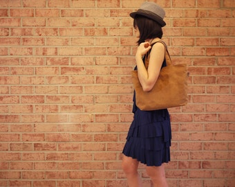 Waxed Canvas Medium Zipper Tote Messenger - Vegan Day Bag (Made to Order)
