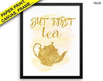 Tea Printed Poster Tea Framed Tea Canvas Tea tea potter watercolor pink tea print tea time gold Canvas Art Tea Printed Poster Tea quote