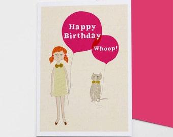 Girl & Cat Birthday card