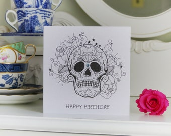 Diamonds are Forever Sugar Skull Luxury Birthday Card