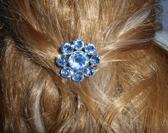 Authentic Vintage Blue Rhinestone Hair Comb