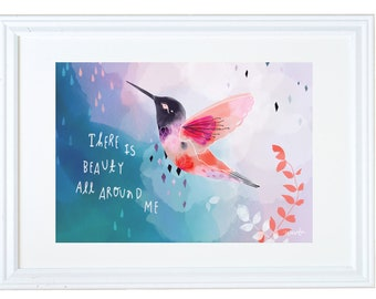 Inspirational Kids Gift, Bird Art, Childrens Art, There Is Beauty All Around Me, Meera Lee Patel