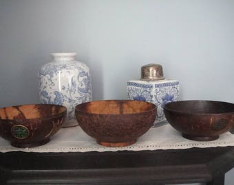 Vintage Unusual Hand Carved Asian Bowls (set of three)