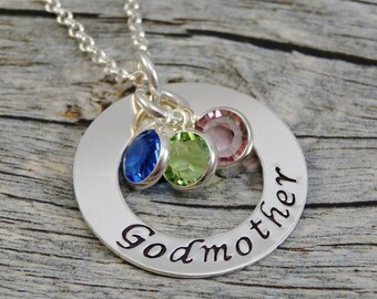 Hand Stamped Jewelry - Personalized Jewelry - Godmother Necklace - Sterling Silver Necklace - Three Birthstones