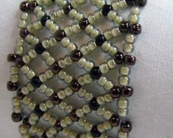 Netted Bracelet in Earth Tones - Hand-Beadwoven