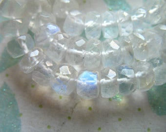 Shop Sale.. MOONSTONE RONDELLES Beads, Luxe AAA, 1/2 Strand, 4-5 mm, faceted, tons  blue flashes .. june birthstone ..brides bridal true