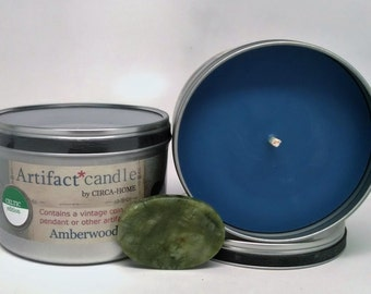 Celtic ARTIFACT CANDLE w/Authentic Embedded Artifact, New! Amberwood Fragrance, Connemara, Celtic Jewelry,etc, Dad's Day, 5.00 Flat Rate S/H