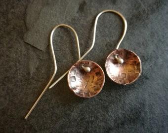 Copper disc earrings with silver ear hooks (#0236)