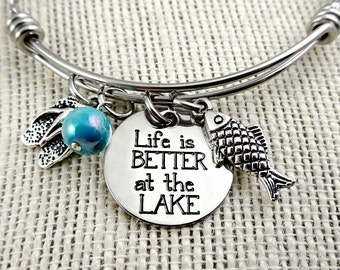 Life Is Better at the LAKE Bangle Bracelet or Necklace  - Toes In the Sand Collection - Engraved - Flip Flops Fish