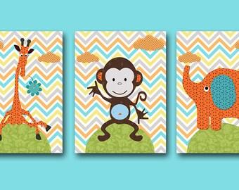 Orange Giraffe Wall Art Monkey Wall Art Elephant Wall Art Childrens Art Kids Wall Art Baby Boy Room Decor Baby Boy Nursery Art set of 3