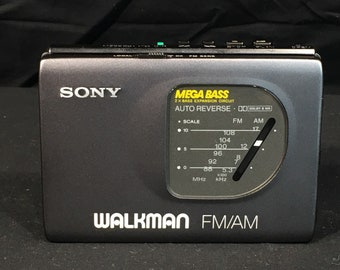 Vintage Sony Walkman, WM FX50 Cassette Player FM AM Radio, Audio Device, Gray Portable Radio, Tape Player Made in Japan, Mega Bass Music
