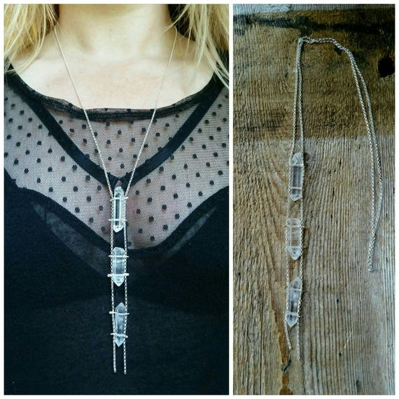 Double terminated quartz crystal ladder necklace on sterling silver rolo chain