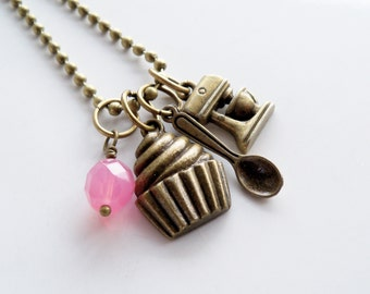 Baker Charm Necklace - Cooking Jewelry - Baking Lover Necklace - Cupcake Spoon Mixer Charm Pendant - Custom - Gift For Baker - Personalized