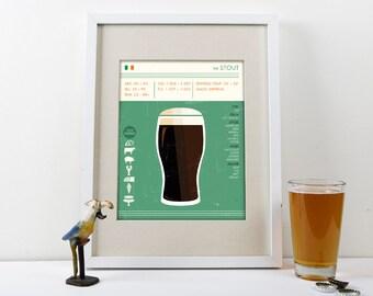Stout Beer Art Print, Beer Print, Beer Poster, Stout Print, Stout Beer Print, Stout Beer Poster, Beer Art Print, Art for Brewery, Pub Poster