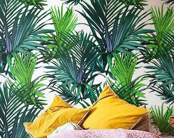 Hojas de Palma fondos tropicales, decoración de la pared, papel pintado de la hoja, fondos temporales, BW013