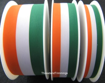 5m x Green/White/Orange Patriotic Ribbon 15mm / 25mm / 40mm Irish/Ireland