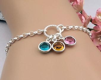 Birthstone Bracelet, Mother's bracelet, family birthstones, gift for her, sterling silver