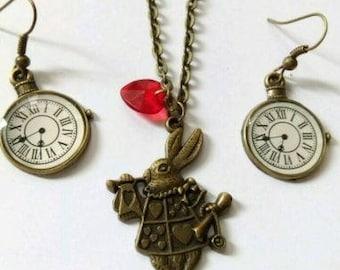 alice in wonderland charms bead earrings