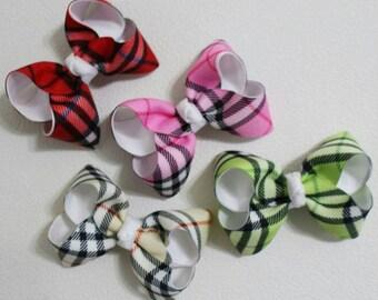 Burberry check / ribbon hair clip / infant headband /toddler headband / girls headband / ribbon bow headband