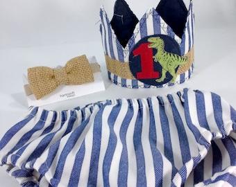 Dinosaur birthday crown set, first birthday crown, H036, one, dino birthday photo prop