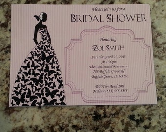 Printable Butterfly Bride Bridal Shower Invites