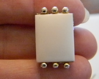 Square Silver Tone White Lucite Clip Earrings