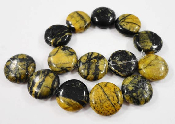 """14mm Yellow Turquoise Stone Beads, Serpentine Coin Shaped Beads, Black and Yellow Gemstone Beads on a 7 1/2"""" Strand with 14 Beads"""