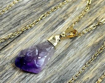 Memorial Day Sale - Amethyst Necklace, Amethyst Pendant, Gold Amethyst, Amethyst Pendant, Pendant, Raw Amethyst. Amethyst Point, Purple