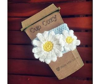 Daisy/Spring Crochet Coffee Cozy Sleeve