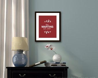 Custom Family Name Art Print - Family Sign - Personalized Wedding Poster - Vine Leaves - Burgundy Dark Red