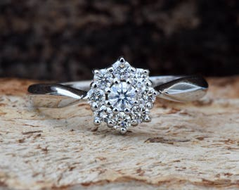 Cluster ring-Custom ring-Art deco ring-Vintage engagement ring -Engagement ring-Diamond Gold Ring-White Gold Ring-Flower diamond ring