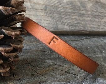 Personalized Leather Bracelet, Personalized Leather Bangle, Leather Bracelet Bangle, You Choose Color