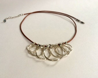 Silver Open Circles Necklace Silver Rings Cluster Pendant Silver Charm Brown Leather Necklace Wire Jewelry Tribal Jewelry