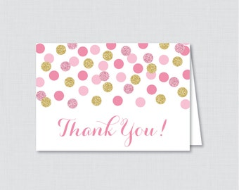 Printable Pink and Gold Bridal Shower Thank You Card - Pink and Gold Glitter Polka Dots Bridal Shower Thank You Card - 0001-P