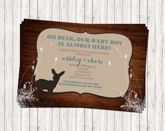 Custom Rustic Deer Baby Shower Invitation