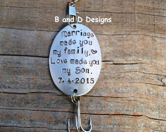 Personalized fishing lure  Perfect for that special son-in-law! Father of the Bride -  Groom