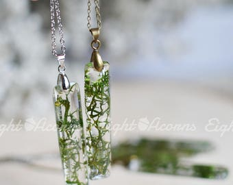 Moss necklace Nature necklace Terrarium necklace Botanical jewelry gift for her mothers day gift mom gift