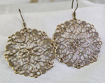 Stamped Filigree Antique Brass Dangle Earrings with Titanium Ear Wires