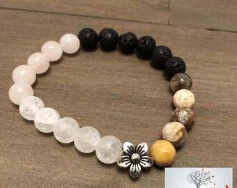 """Natural Stone Elastic Bracelet - """"Feminine Joy"""" (Snowflake Quartz, Rose Quartz, Ocean Jasper, and Lava Rock)"""