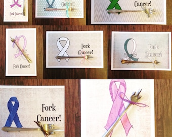 Cancer Cards, Fork cancer, Give friends a gift of laughter, Cancer support, cancer awareness, Funny Cancer Cards, Forking cancer cards