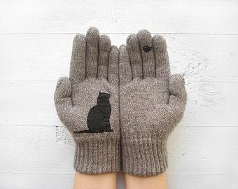 Cat Gloves, Women Gloves, Gift For Her, Cat Mitten, Cat Gift, Gift For Cat Lover, Pet Lover Gift, Women Mitten, Cat Lover Gift, Mother Gift