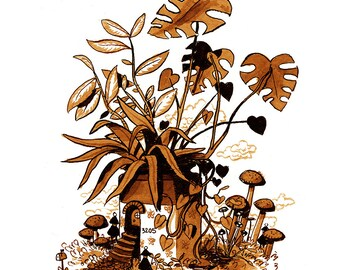 Tiny Forest home in a Potted Plant - Art Print