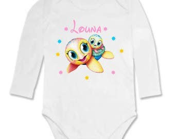 Bodysuit little turtle personalized with name