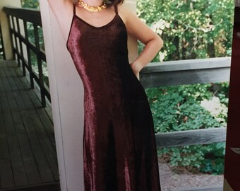 90s Long Velvet Dress Vintage 90s Burgundy Spaghetti Strap Brown Italian Velvet Joanna Trojer Old Stock Maxi Dress with Bra Elegant Evening