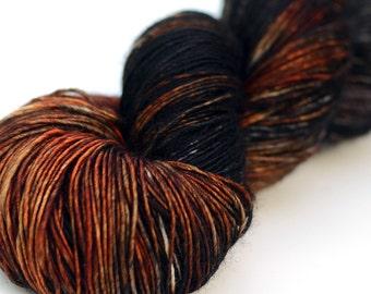 Hand Dyed Yarn -  Silk and Superwash Merino, Single Ply Sock Weight