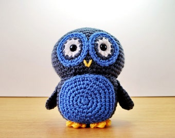 Oscar The Owl Adorable Crochet Plush - Blue And Grey