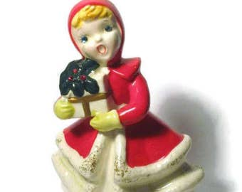 Vintage Shopper Christmas Girl Figurine porcelain Kreiss Japan Decoration Jewel Eyes Poinsettia present