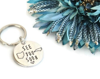 See You Soon Hand Stamped Keychain | Long Distance Relationship | Long Distance Gift | Girlfriend Gift | Boyfriend Gift | Aluminum Keychain